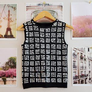 Vintage Mod Daisy Sequin Sweater Crop Top